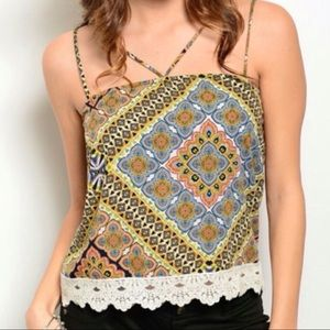 Tops - Strappy Lace Trimmed Tank